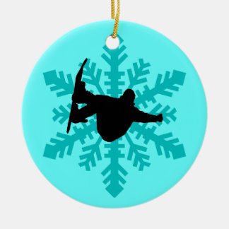 snowflake snowboarder ceramic ornament