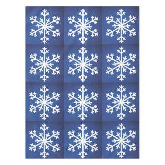 SNOWFLAKE SNOWFLAKES BLUE TABLECLOTH
