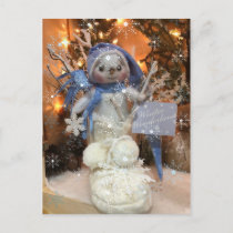 Snowflake Snowman Boot Holiday Postcard