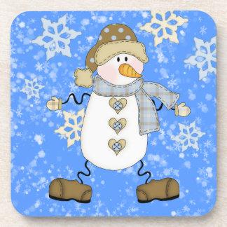 Snowflake Snowman Christmas Drink Coaster