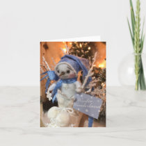 Snowflake Snowman Winter Wonderland Boot 2 Holiday Card