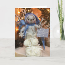 Snowflake Snowman Winter Wonderland Boot Holiday Card