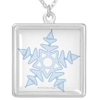 Snowflake Square Pendant Necklace
