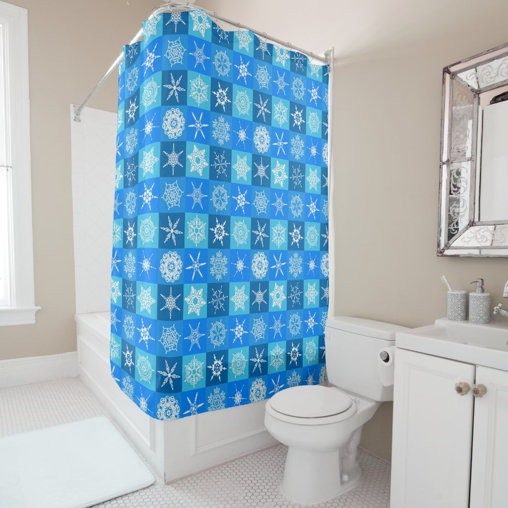 Snowflake Squares on Blue Shower Curtain