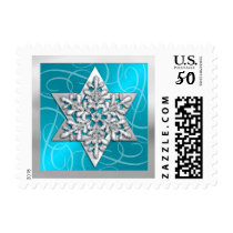 Snowflake Star of David on Turquoise Postage
