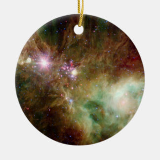 Snowflake Stars Double-Sided Ceramic Round Christmas Ornament