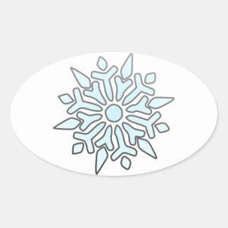 Snowflake Oval Sticker