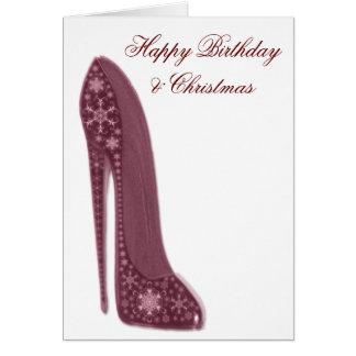 Snowflake Stiletto Shoe Art Card