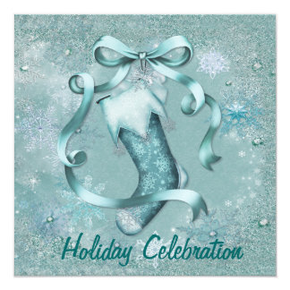 Snowflake Stocking Party Invitation