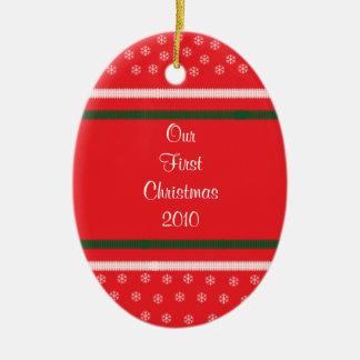 Snowflake & Striped Christmas Ornament