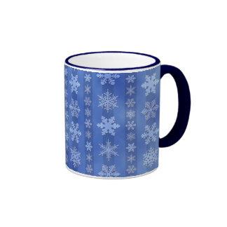 Snowflake Stripes - Blue Ringer Coffee Mug