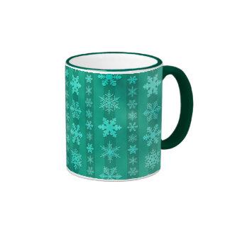 Snowflake Stripes - Green Ringer Coffee Mug