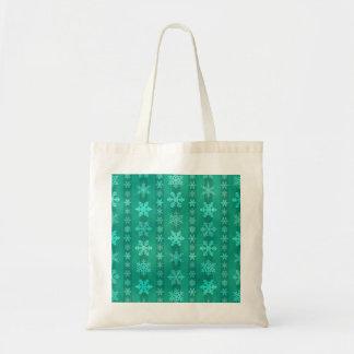 Snowflake Stripes - Green Tote Bag