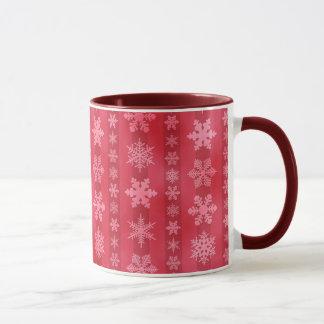 Snowflake Stripes - Red Mug