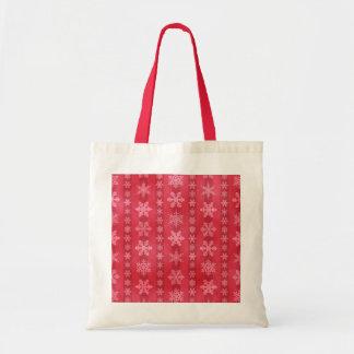 Snowflake Stripes - Red Tote Bag