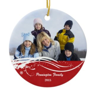 Snowflake swirl Christmas holiday photo ornament ornament