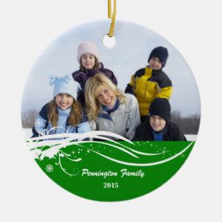 Snowflake swirl Christmas holiday photo ornament