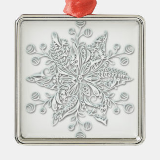 Snowflake Swirl Metal Ornament