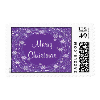 Snowflake swirls Merry Christmas Postage Stamps