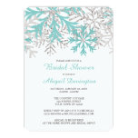 Snowflake Teal Blue Silver Winter Bridal Shower Customized Invitation Cards