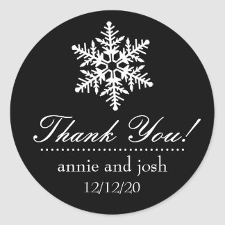 Snowflake Thank You Labels (Black) Round Stickers