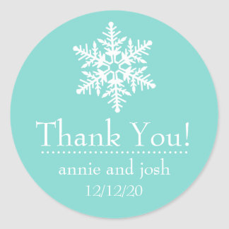 Snowflake Thank You Labels (Custom Blue) Stickers