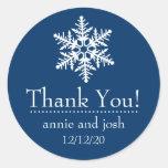 Snowflake Thank You Labels (Dark Blue) Sticker