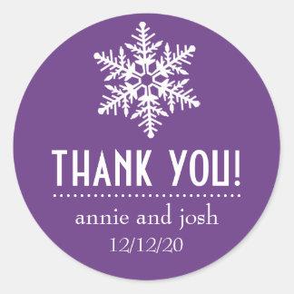 Snowflake Thank You Labels (Dark Purple) Round Sticker