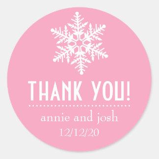 Snowflake Thank You Labels (Pink) Sticker