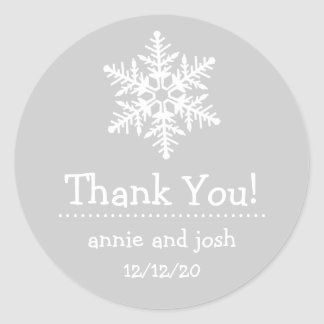 Snowflake Thank You Labels (Silver Gray / White) Stickers