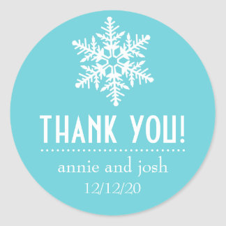 Snowflake Thank You Labels (Teal) Sticker