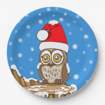 Snowflake the Owl at Christmas Paper Plate