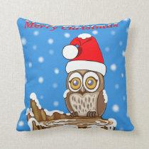 Snowflake the Owl at Christmas Throw Pillow