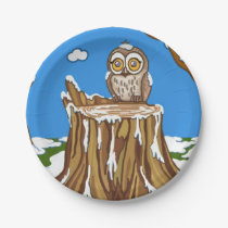 Snowflake the Owl Paper Plate