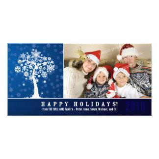 Snowflake Tree Family Holiday Photocard (blue) Card