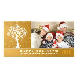 Snowflake Tree Family Holiday Photocard (gold) Card