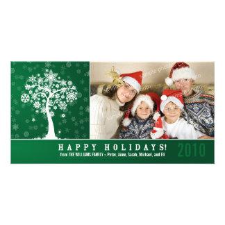 Snowflake Tree Family Holiday Photocard (green) Card