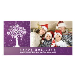Snowflake Tree Family Holiday Photocard (purple) Card