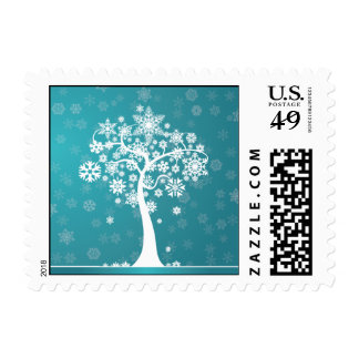 Snowflake Tree Happy Holidays Postage (aqua)