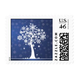 Snowflake Tree Happy Holidays Postage (blue)