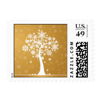 Snowflake Tree Happy Holidays Postage (gold)