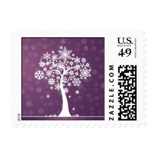 Snowflake Tree Happy Holidays Postage (purple)