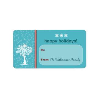 Snowflake Tree Holiday Gift Tag (aqua) Address Label