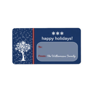 Snowflake Tree Holiday Gift Tag (blue) Address Label