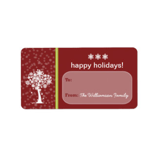 Snowflake Tree Holiday Gift Tag (maroon) Custom Address Label