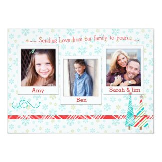 Snowflake & Trees Holiday Photo Card Template