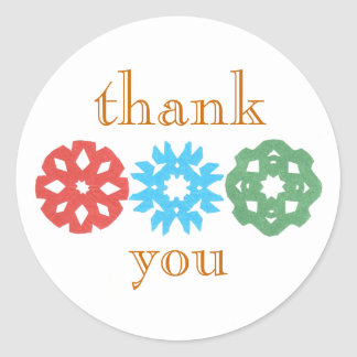 Snowflake trio holiday thank-you sticker