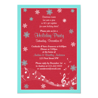 Snowflake Turquoise Red White Christmas Holiday 5x7 Paper Invitation Card