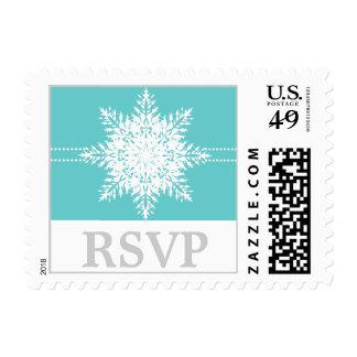 Snowflake turquoise white winter wedding RSVP Stamp