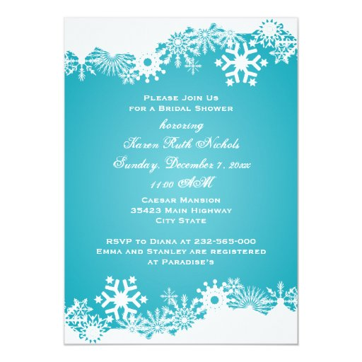 Snowflake turquoise  winter wedding bridal shower invitation